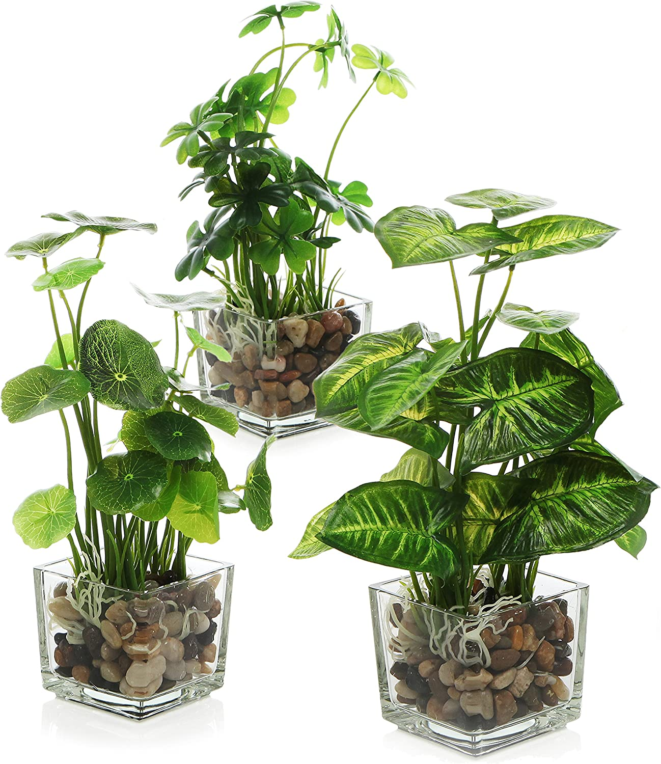 MyGift Set of 3 Artificial Plants, Faux Tabletop Greenery w/Clear Glass Pots