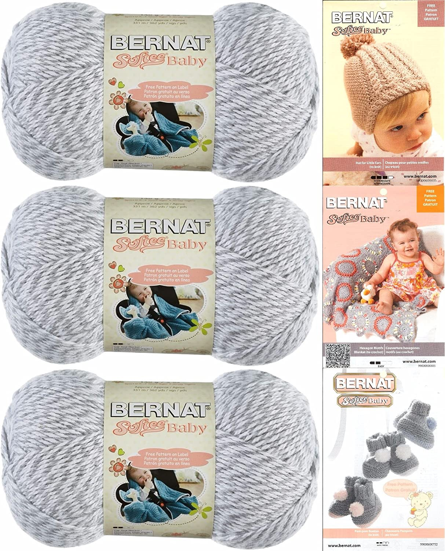 Bernat Softee Baby Yarn 3 Pack Bundle Includes 3 Patterns DK Light Worsted, Grey Marl, Large