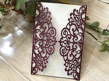 Amazon Com Burgundy Red Wedding Invitations Diy Invitation Cards