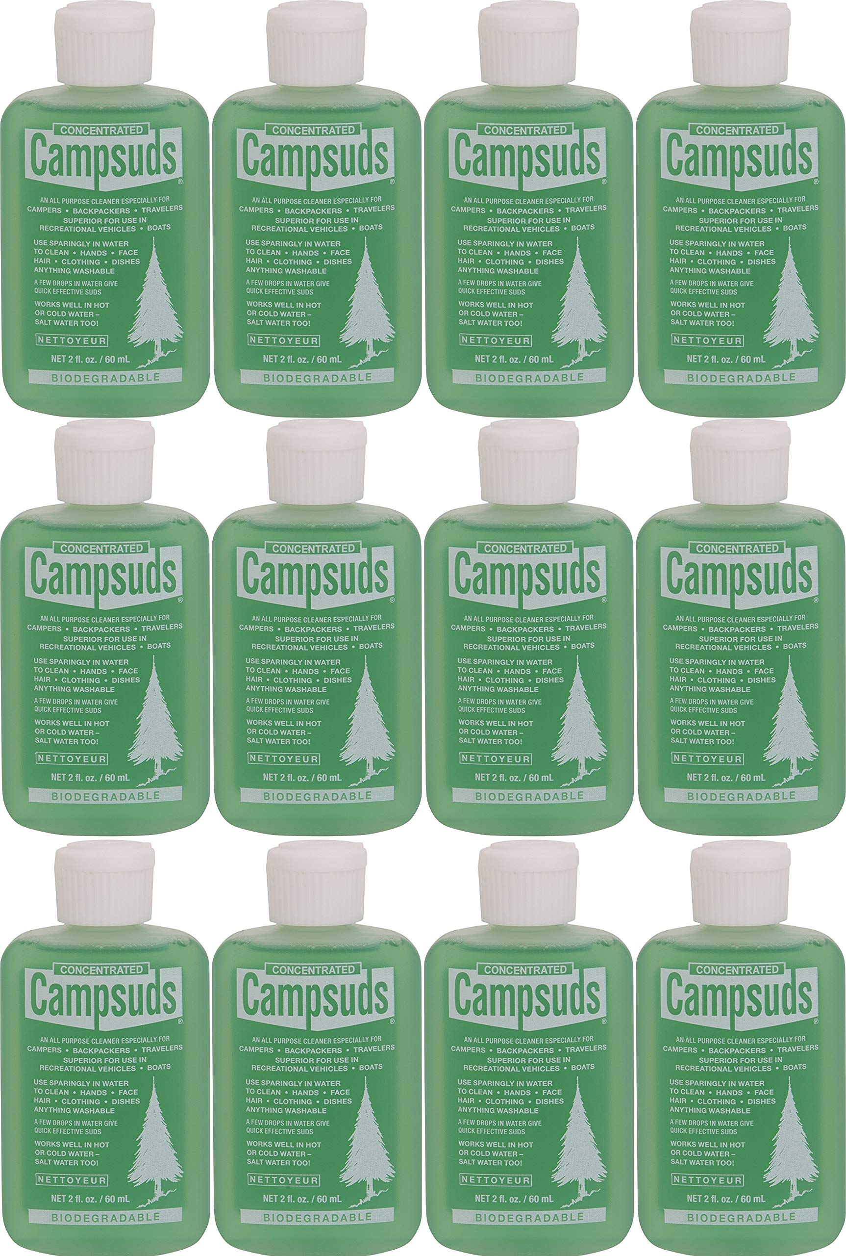 Sierra Dawn Campsuds Outdoor Soap Biodegradable Environmentally Safe All Purpose Cleaner, Camping Hiking Backpacking Travel Camp, Multipurpose Dishes Shower Hand Shampoo (2-Ounce, 12 Bottles)