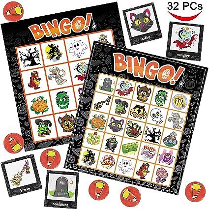 joyin 32 halloween bingo game cards 4x4 5x5 16 players for halloween