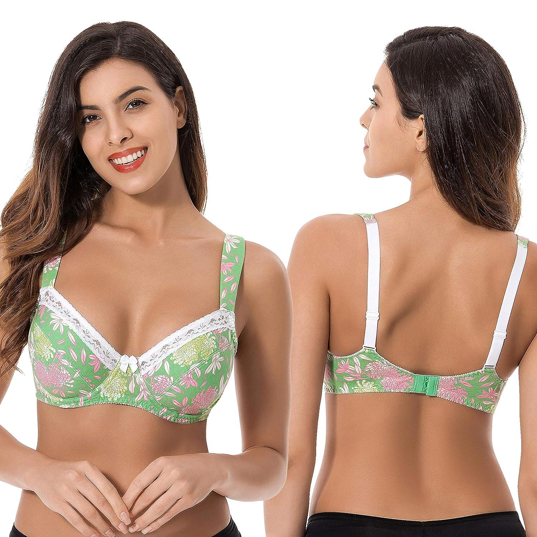 5f2c934c3c Curve Muse Plus Size Women s Unlined Cotton Underwire Balconette Bra-Pack  of 3  Amazon.co.uk  Clothing