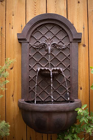 The Manchester   Outdoor Wall Fountain   Weathered Bronze   Water Feature  For Garden, Patio