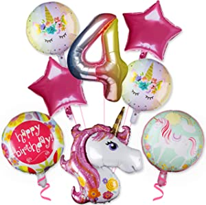 PROLOSO Pack of 8 Unicorn Balloons Birthday Party Supplies Pink Unicorn Foil Balloons 4th Birthday Party Decoration Unicorn Theme Party Decor Home Office Decor