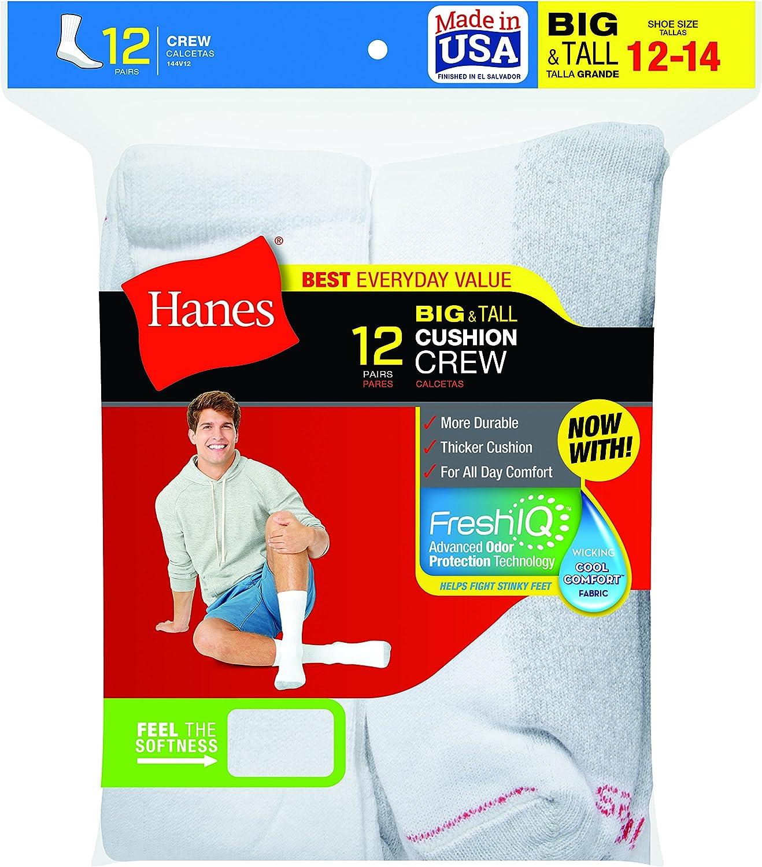 Hanes Mens 12-Pack FreshIQ Odor Protection Crew Socks at  Men's Clothing store