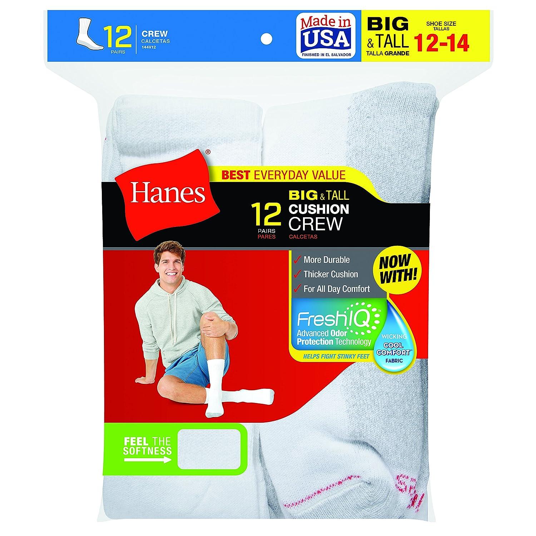 144V12 Hanes Big /& Tall Crew Socks