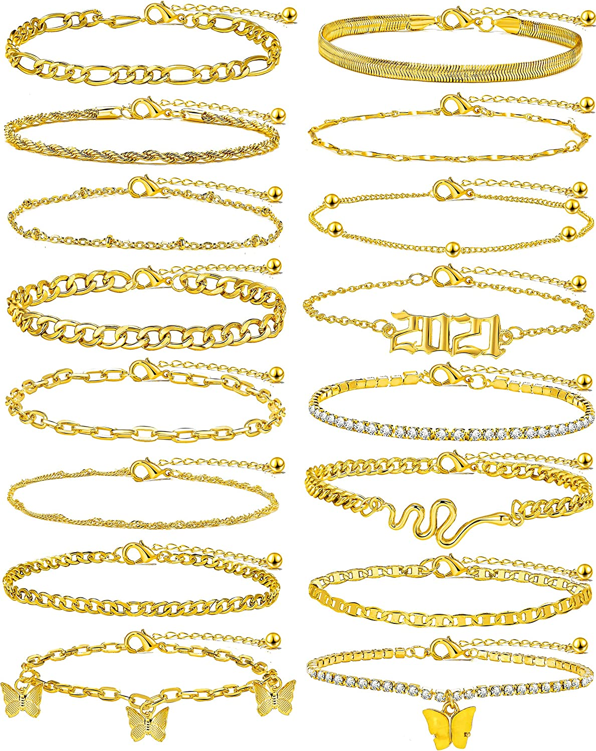 Gold Ankle Bracelets Set for Women, 7/9/16PCS Girls Flat Mariner Anklet, Satellite Butterfly Foot Chains, Adjustable Boho Anklets Beach Jewelry Summer Gifts