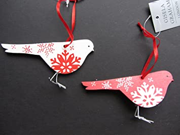 Gisela Graham Scandinavian Inspired Wood and Metal Robin Christmas Tree Decoration Set of 2