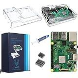V-Kits Raspberry Pi 3 Model B+ (B Plus) with Clear Transparent Case and Set of 2 Heatsinks [Latest Model 2018]