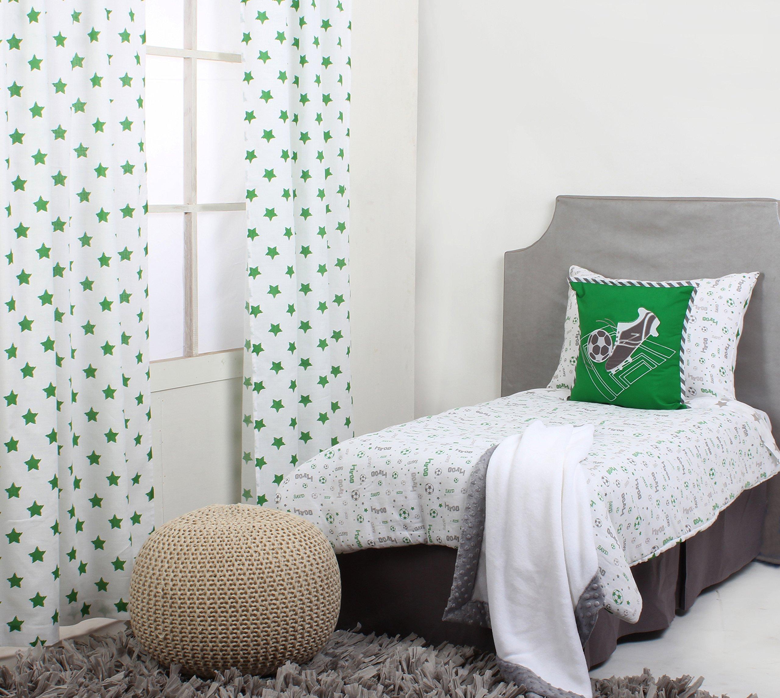 Bacati Soccer Muslin 4 Piece Toddler Bedding Set, Green/Grey