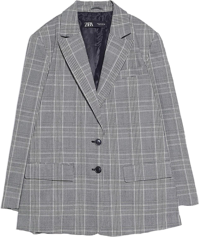 Zara Check Blazer 9929/329/802 - Chaqueta para Mujer - Gris - X ...