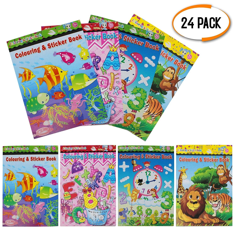 24 Mini Libro de Colorear et Pegatinas - Actividad De Arte Infantil, Cumpleaños Favor Del Partido, Piñata, Materiales Educativos Y Premios Llenadoras ...