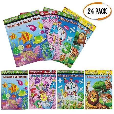 24 Assortiti Libro Da Colorare E Etichetta Per Bambini Mini