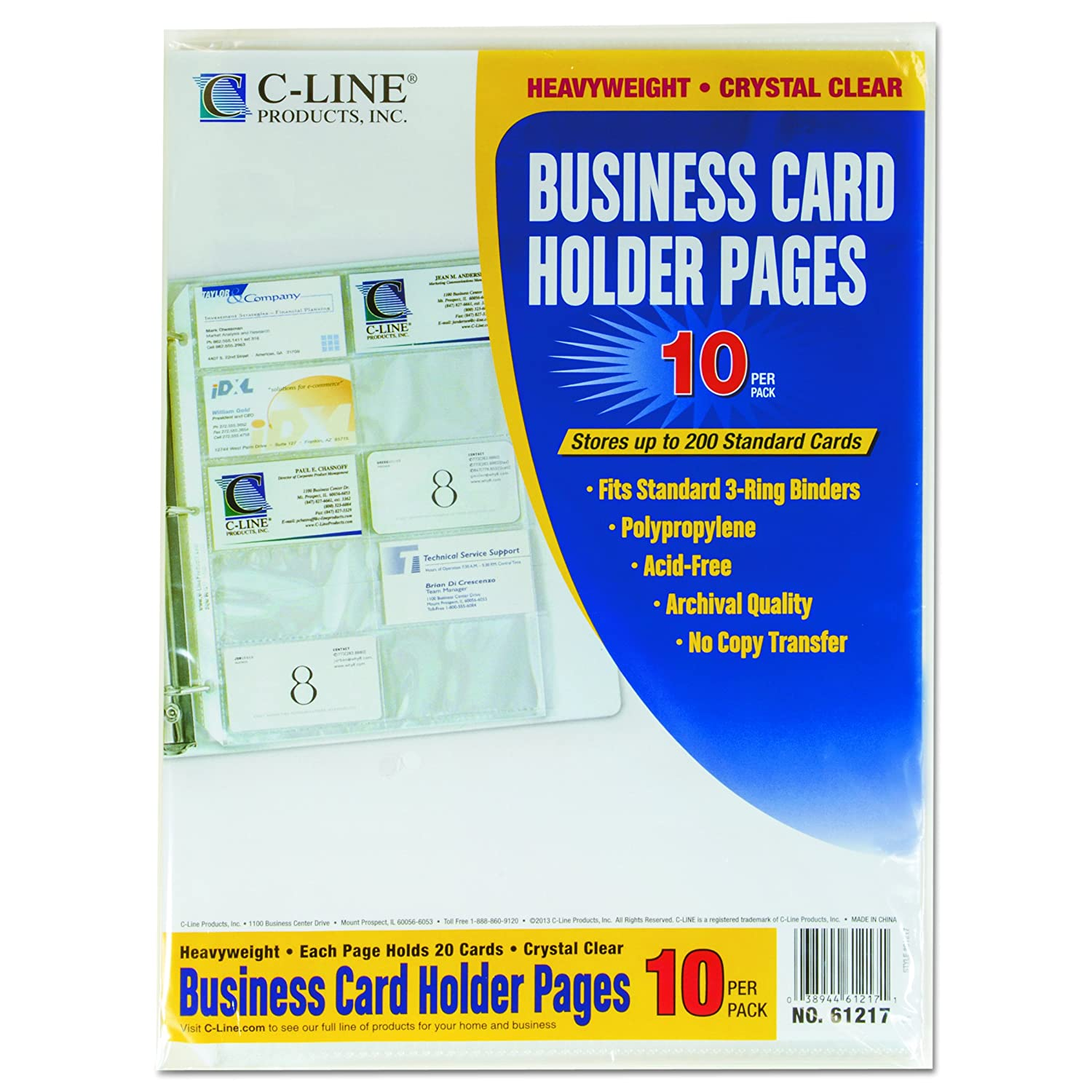 Amazon.com : C-Line Business Card Holder Pages, Poly without Tabs ...