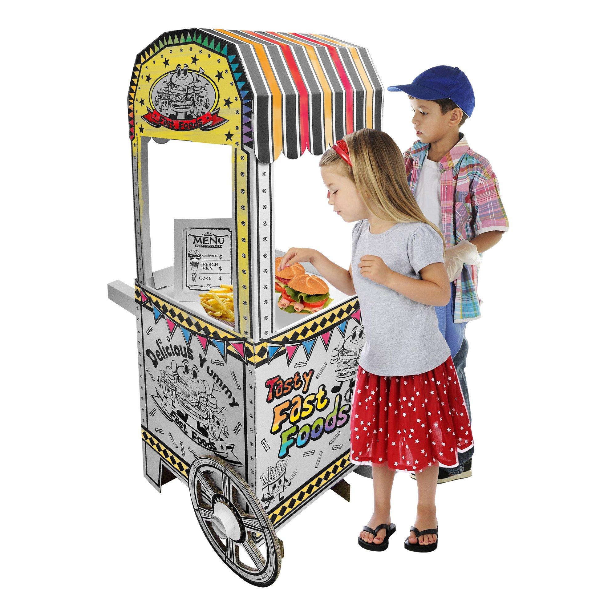 Fat Catalog ALT-ERU1001-SO Cardboard Coloring Craft, Kid-Sized Food Cart, White/Black