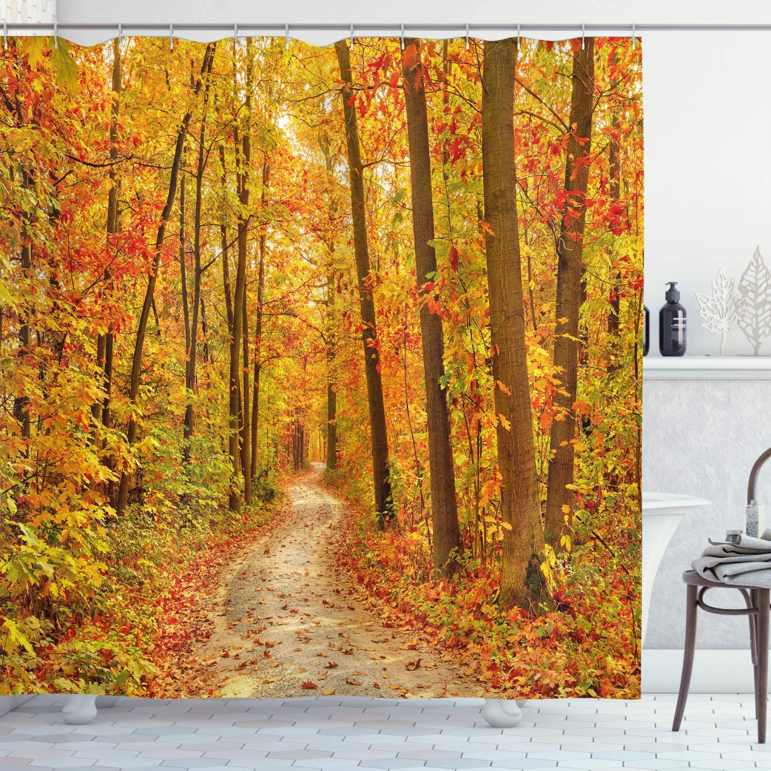 Ambesonne Fall Shower Curtain, Deciduous Trees with Seasonal Leaves Pathway Wilderness Woodland Image, Cloth Fabric Bathroom Decor Set with Hooks, 70