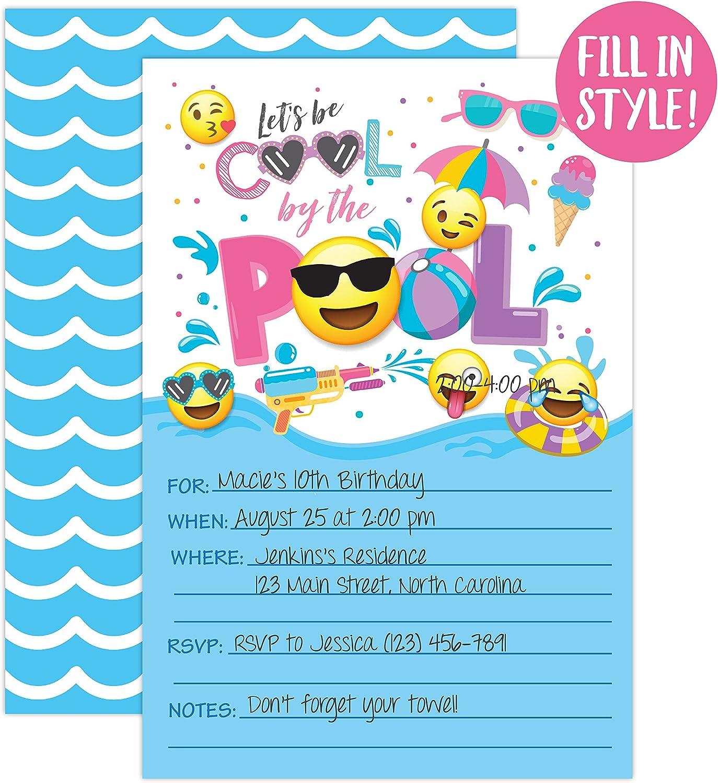 Amazon.com: Niña Emoji fiesta en la piscina invitaciones de ...