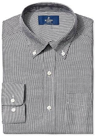 9c2b1e63 BUTTONED DOWN Men's Classic Fit Button-Collar Non-Iron Dress Shirt, Black  Gingham