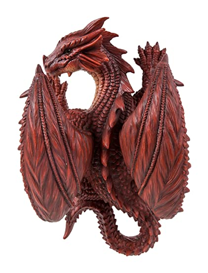 Wall Hanging Red Dragon Highly Detailed  Resin Mystical Ornament Vivid Arts