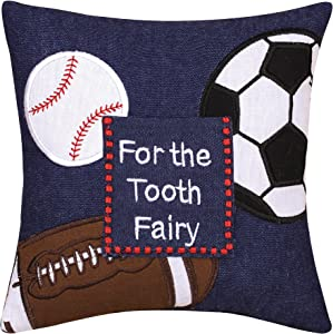 C&F Home Tooth Fairy Petite Pillow Sports Theme for Boys and Girls | Toothfairy Throw Petite Pillow for Kids Room for First Lost Tooth 8 x 8 Blue