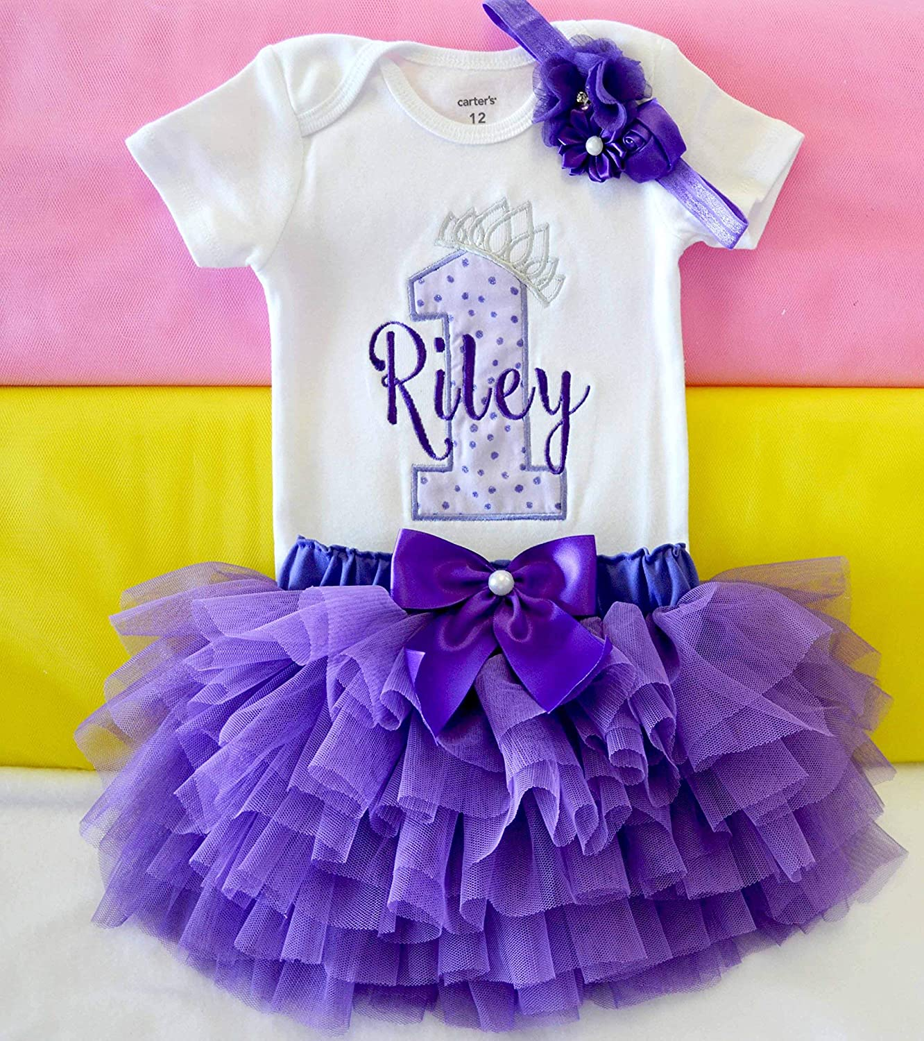 Groovy Amazon Com Purple And Silver First Birthday Outfit For Baby Girl Funny Birthday Cards Online Ioscodamsfinfo