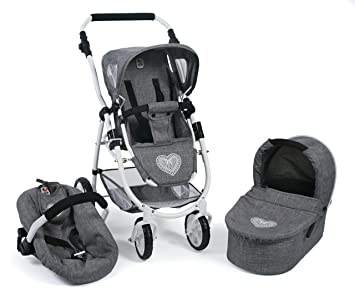 Bayer Chic 2000 637 76 Carrito Emotion All in, 3 en 1 de muñecas, Jeans Gris
