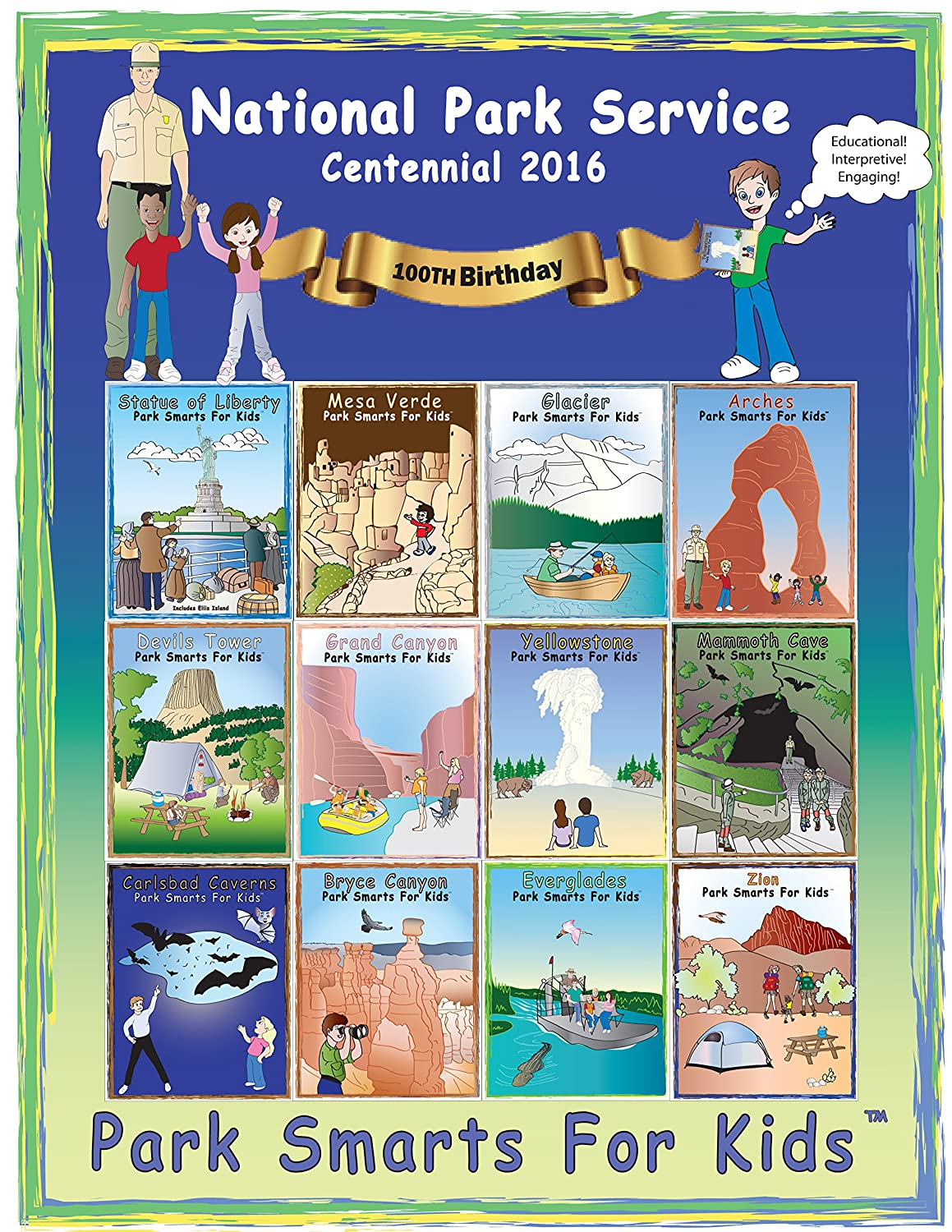 2 Pack Arches National Park and National Park Service Centennial 2016 Park Smarts For Kids Activity Book Set