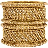 Mansiyaorange Traditional Fancy Designer Party Wedding Wear Original Hand Work Antique Golden Bangle Set for Women
