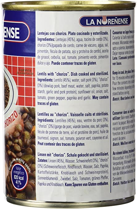 La Noreñense Lentejas con Chorizo - 430 gr: Amazon.es ...