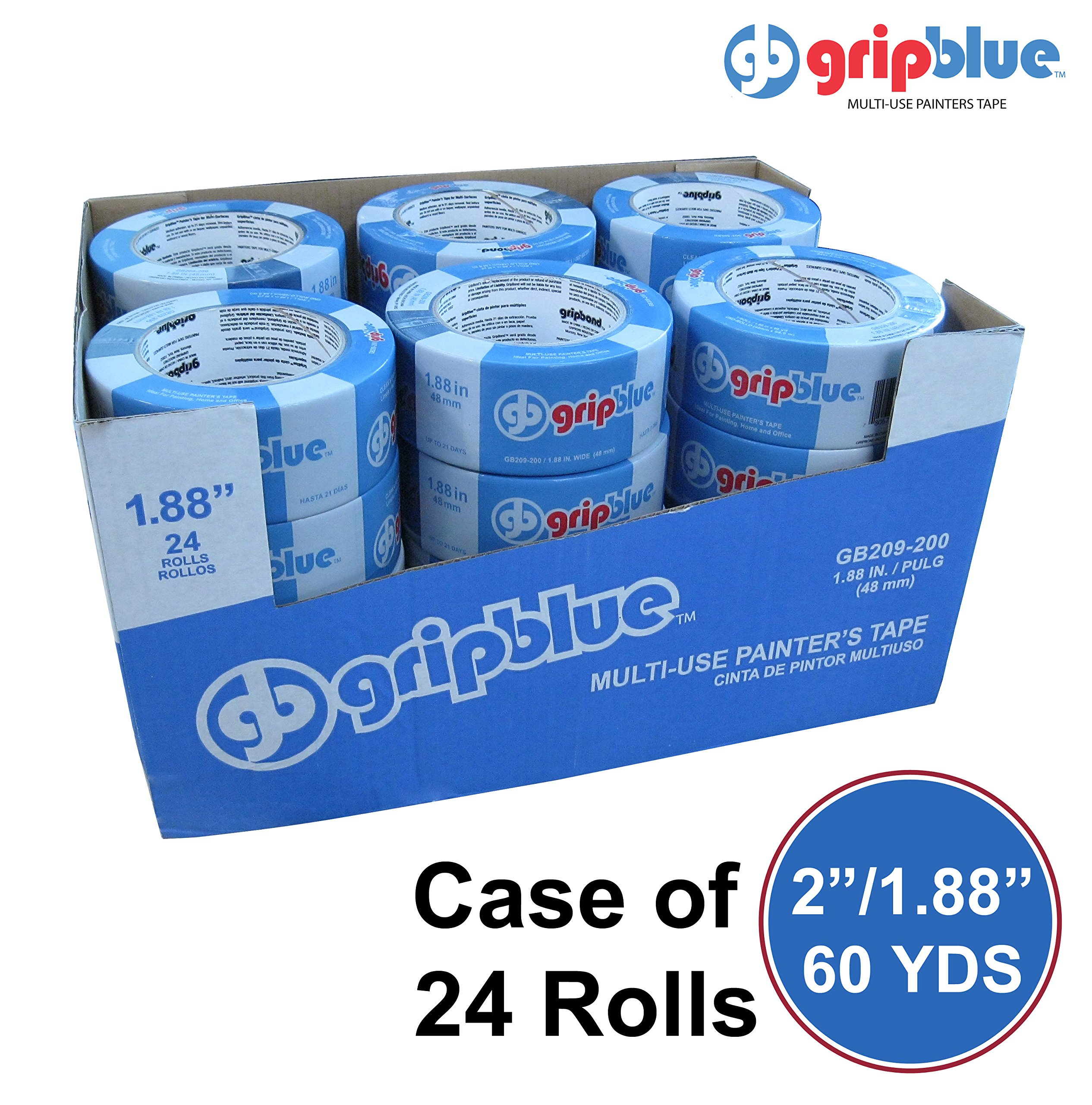 Blue Painters Tape 1.88''/48mm X 60 YDs - Case of 24 Rolls | Multi-Use Safe-Release Crepe Paper Masking Tape for Multi-Surfaces by GripBlue