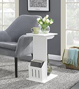 Convenience Concepts Designs2Go Abby Magazine C End Table, White