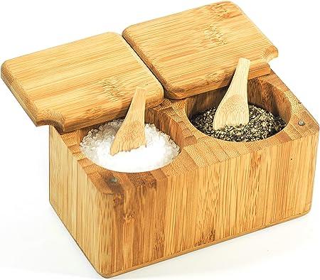 Caja para Especias de Bambú para Sal & Pimienta con Cucharas ...