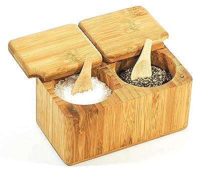 Caja para Especias de Bambú para Sal & Pimienta con Cucharas - Madera 100% Orgánica