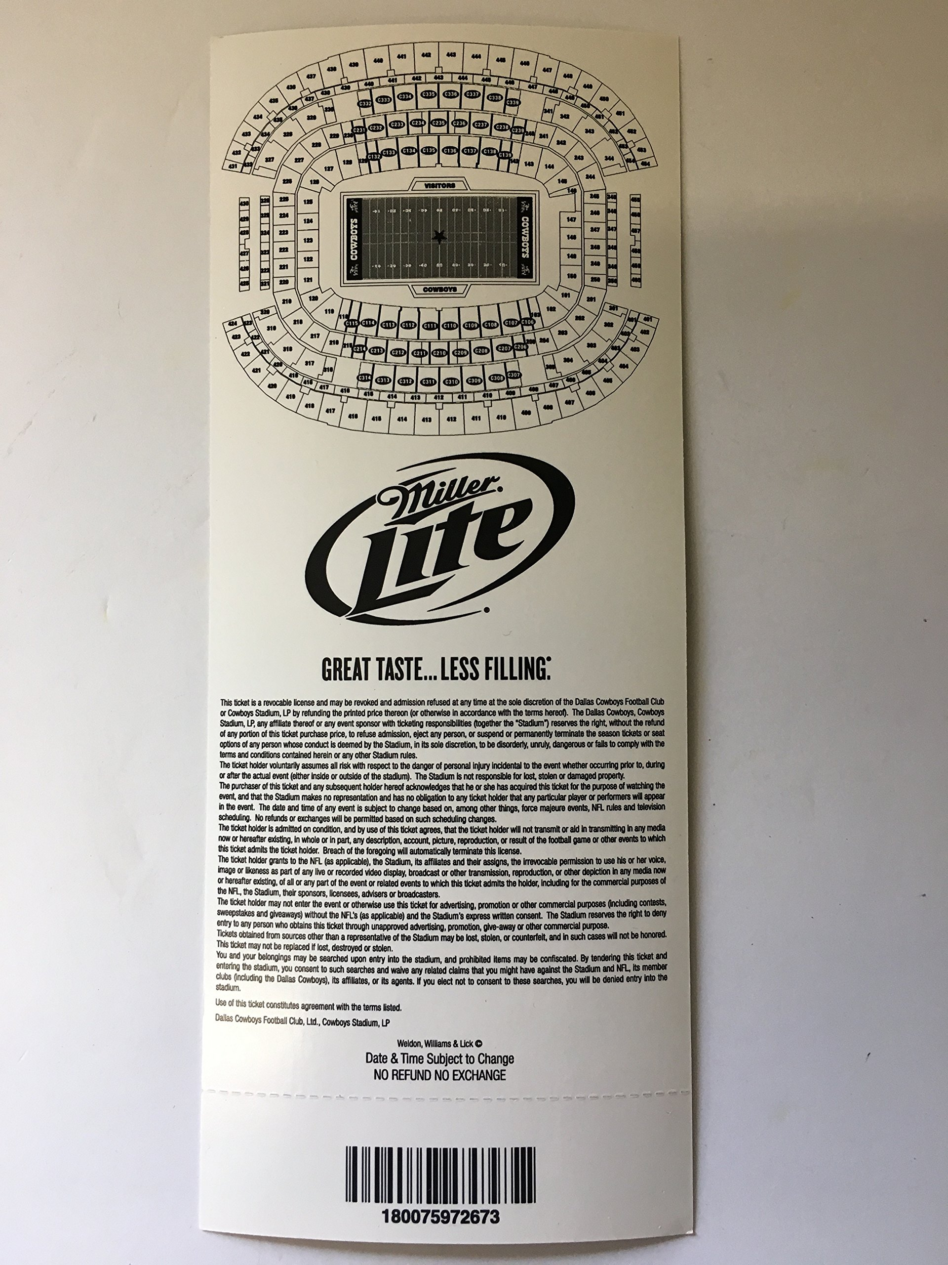 Cowboys Stadium Opening Night Inaugural Season Commemorative Holographic Ticket Stub! Dallas Cowboys vs New York Giants 9/20/09