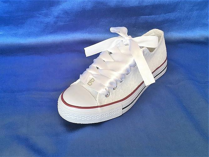 Amazon.com: Lace Wedding Converse Shoes Rhinestone, Lace Converse ...