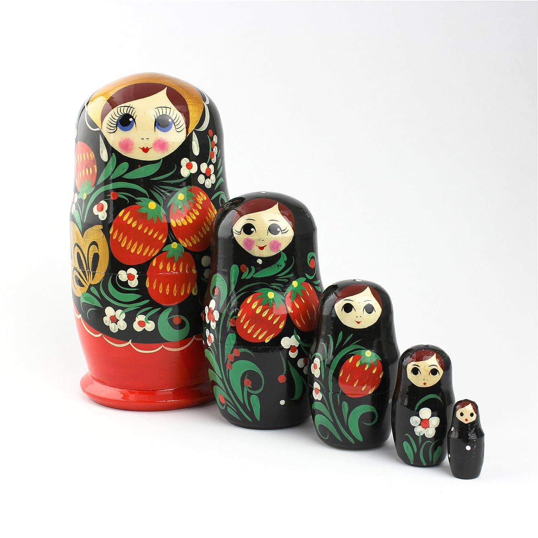 Heka Naturals Matryoshka Dolls di nidificazione russa Fascia classica Babushka fatta in Russia 5 pezzi 18 cm Giocattolo di legno in legno rus-0025