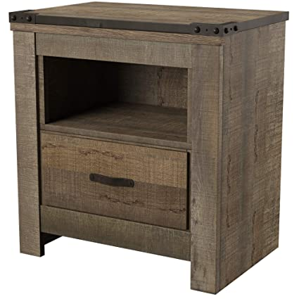Amazon Com Ashley Furniture Signature Design Trinell Warm Rustic Nightstand Casual Master Bedroom End Table Brown Kitchen Dining