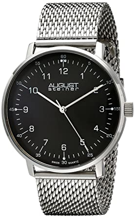 aefaee8e7bc Image Unavailable. Image not available for. Color  August Steiner Men s  AS8091SSB Stainless Steel Watch with Black Dial and Mesh Bracelet