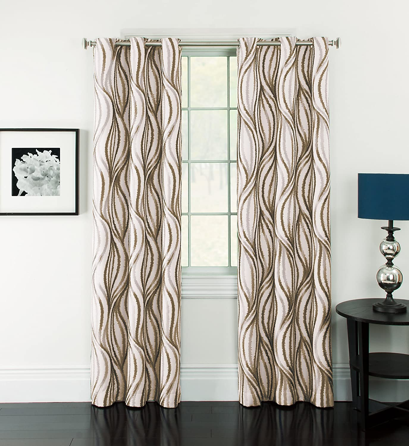 Window Accents Celestina Wave Jacquard Grommet Panel, 54-Inch by 84-Inch, Mocha