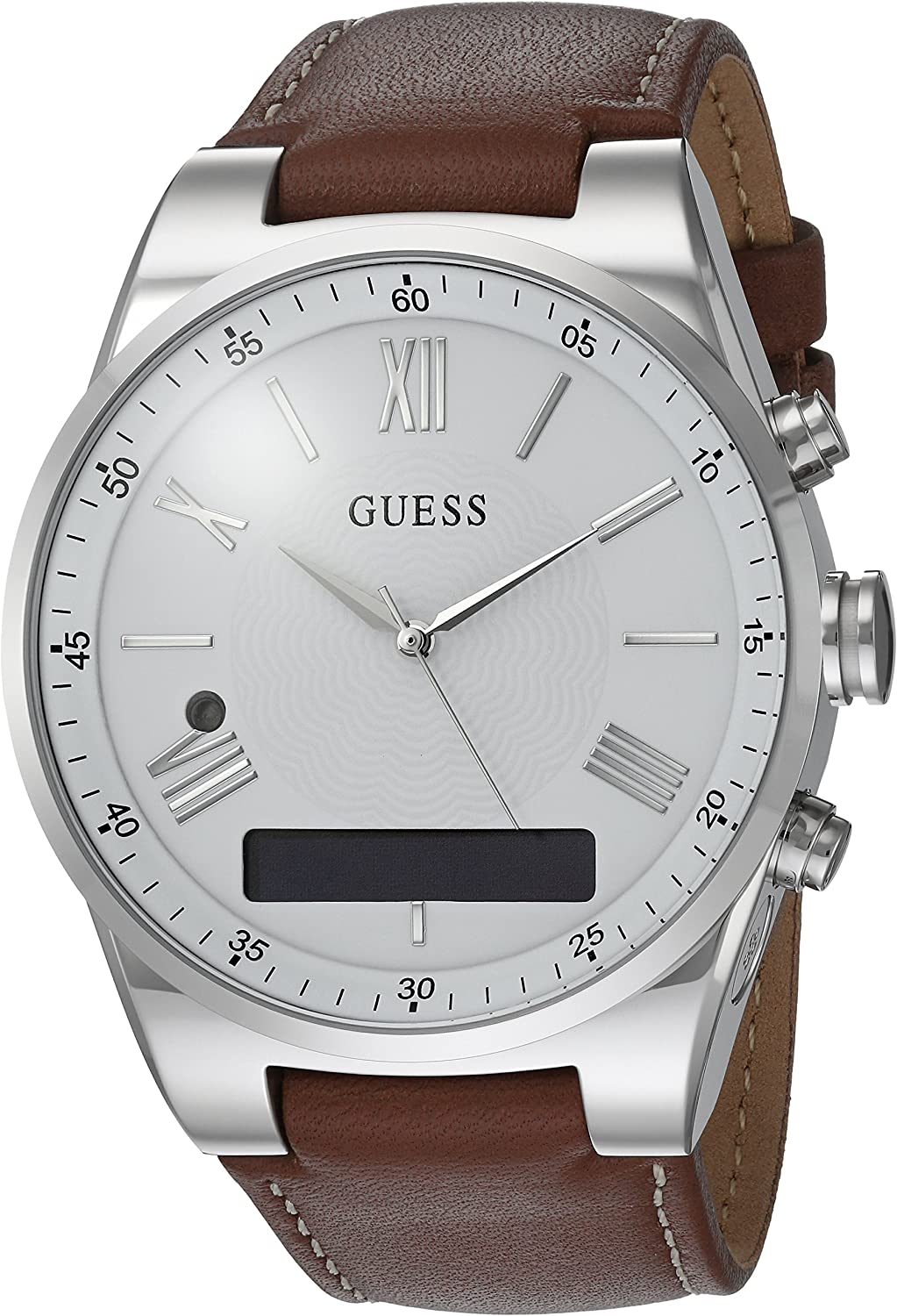 GUESS Men's Stainless Steel Connect Smart Watch - Amazon Alexa, iOS and Android Compatible, Color: Brown (Model: C0002MB1)