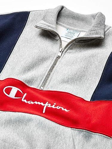 Champion LIFE Mens Reverse Weave Colorblock 1//2 Zip Mock Neck