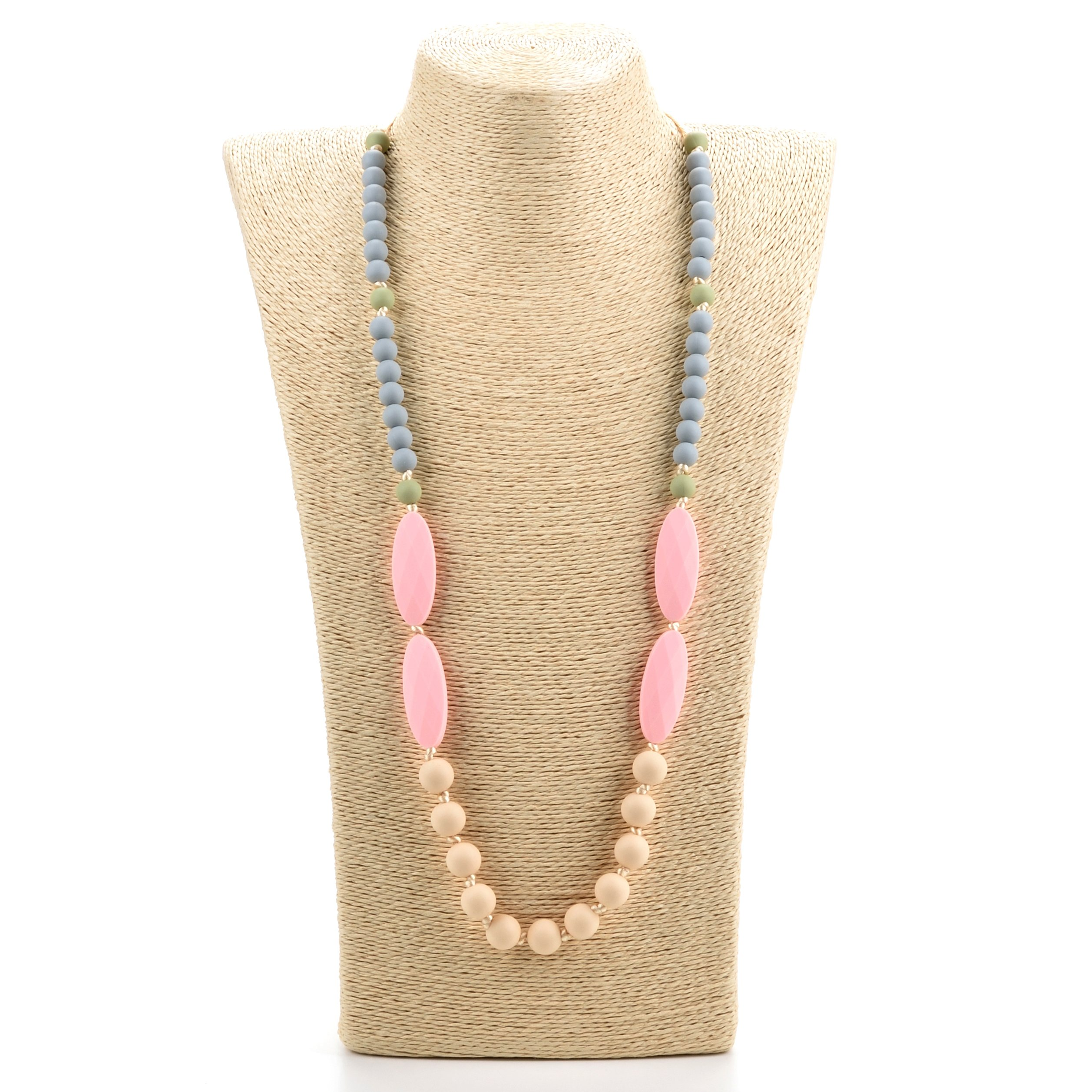 Lofca Baby Toys Silicone Teething Necklace for Mom to Wear-BPA Free -Anti Flammatory,Drooling , Teething Pain Reduce Properties-Nursing Necklace Perfect for Breastfeeding Moms-'Ina'(Rose Quartz)