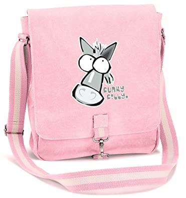 5d245fe1930 Funky Filly Pony Girls Grey Horse Vintage Canvas Messenger School Bag Pink  Size 34 x 29 x 10 cms  Amazon.co.uk  Clothing