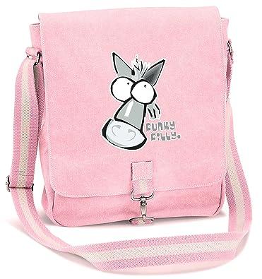Funky Filly Pony Girls Grey Horse Vintage Canvas Messenger School Bag Pink  Size 34 x 29 x 10 cms  Amazon.co.uk  Clothing dbb8f73af54d2