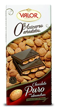 Chocolates Valor - Chocolate puro con almendras Sin Azúcar- 150 g