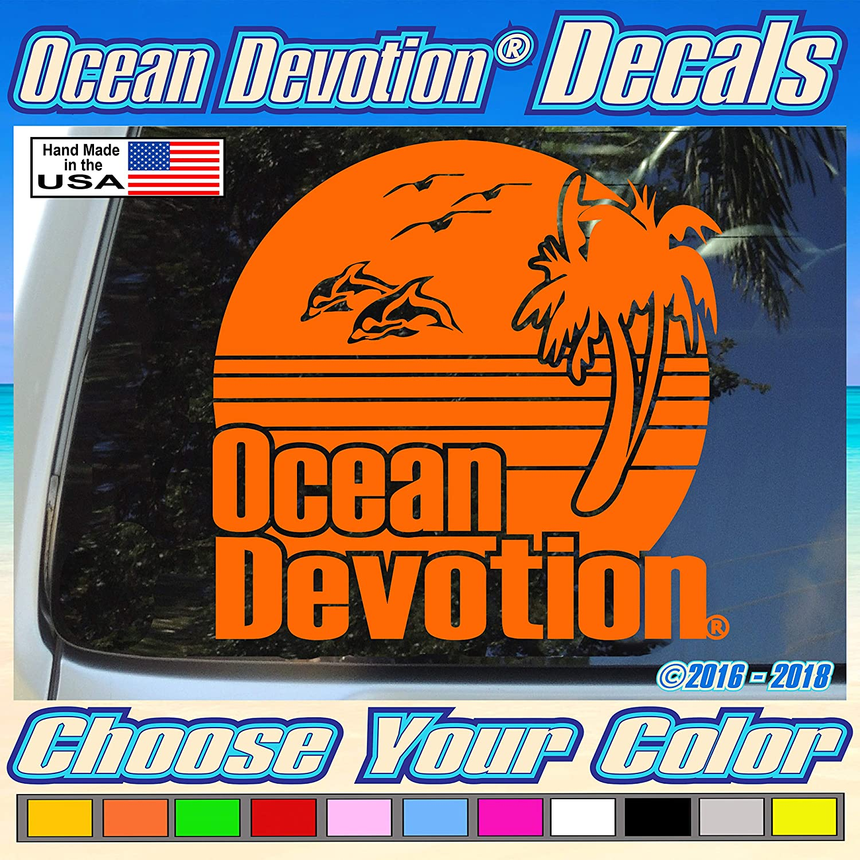"Window Sea Life Reel Life Fishing Salt Life Surf Automobile Beach Life Car Boat 6w x 5h Inches Sunset Dolphin /""Ocean Devotion/®/"" Vinyl Decal//Sticker Keywords.. Truck Surfing"