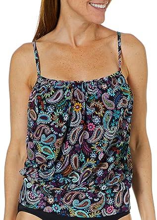 84e392719c A Shore Fit Womens Paisley Print Blouson Tankini Top at Amazon Women's  Clothing store: