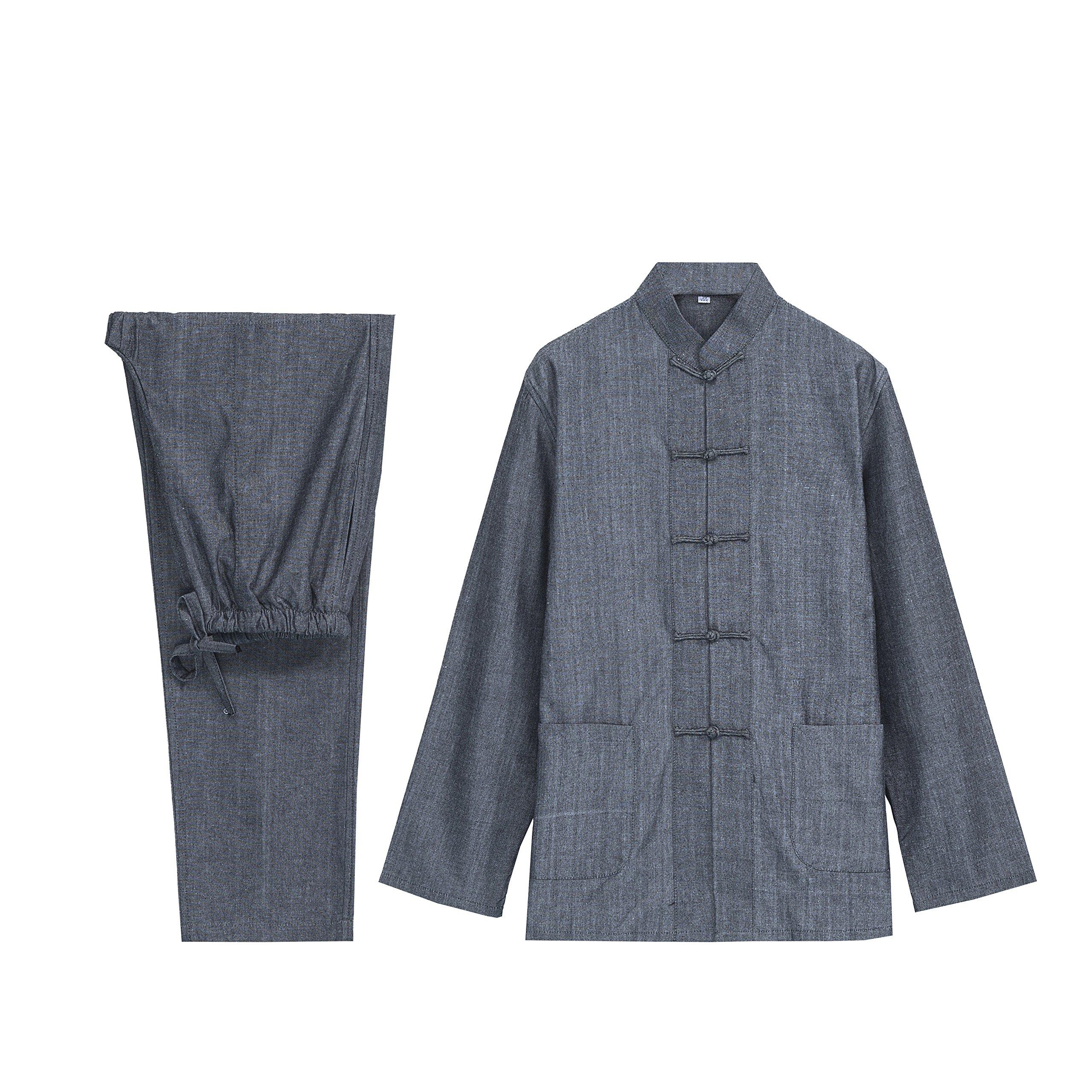 KUFEIUP Traditional Chinese Tang Suits Kung Fu Uniform Tai Chi Clothing For Men Dark Gray M