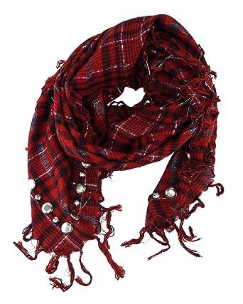 TigerTie foulard rouge bordeaux noir argent carreaux avec franges - fil  scintillant + argentknöpfe 0b7ea3f10d9