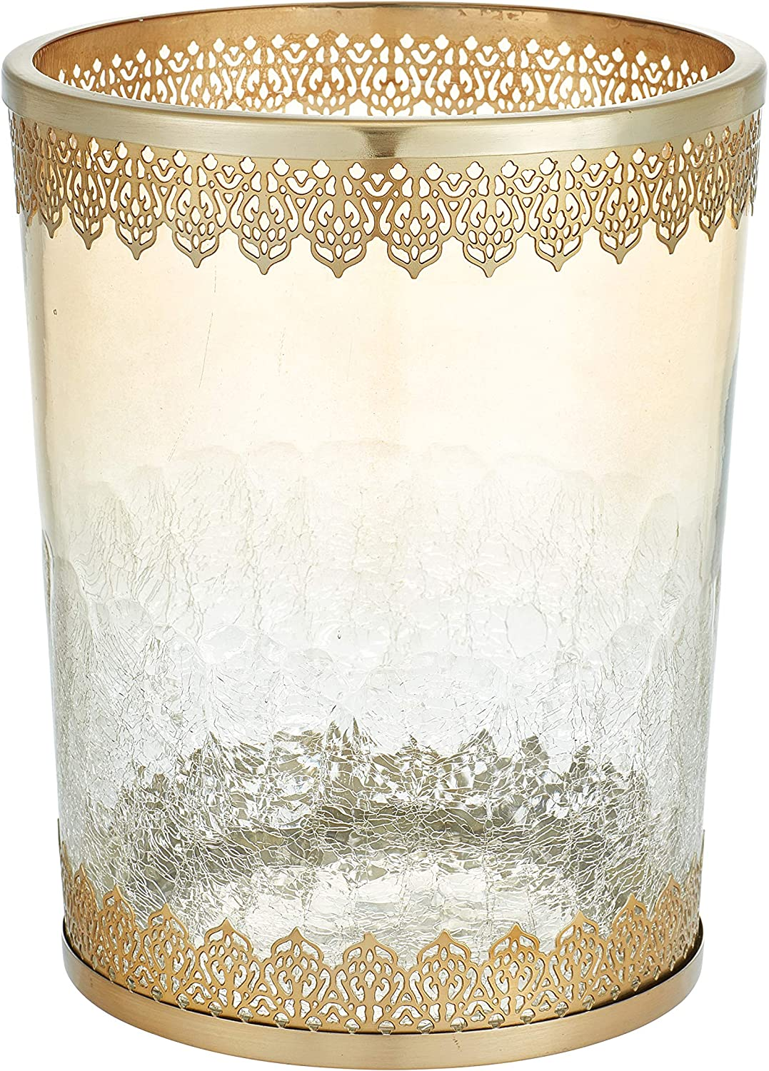 Five Queens Court Irene Crackled Glass and Metal Moroccan Wastebasket, Gold, 9.75x9.75